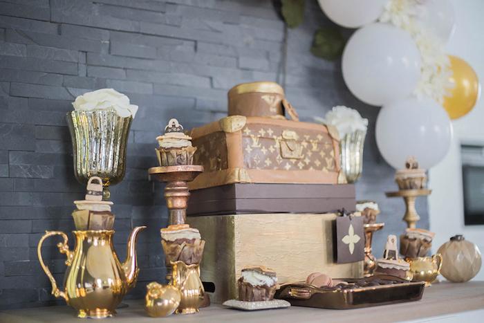Dessert Table from a Louis Vuitton Themed Party on Kara's Party Ideas | KarasPartyIdeas.com (4)