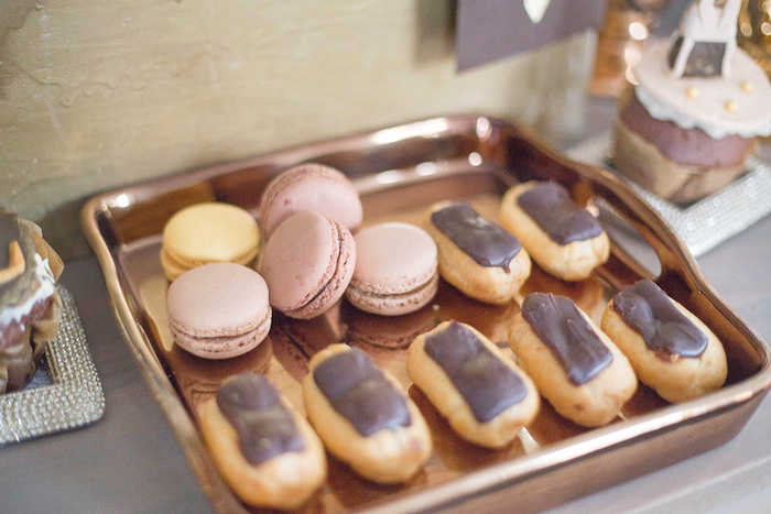Macarons & Eclairs from a Louis Vuitton Themed Party on Kara's Party Ideas   KarasPartyIdeas.com (26)