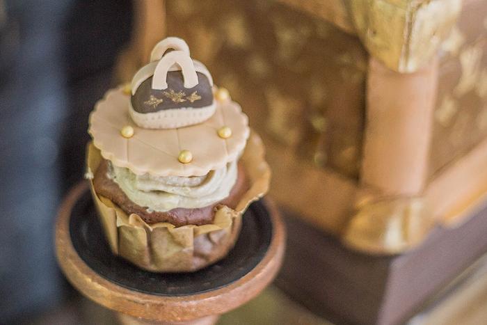 Louis Vuitton Bag Cupcake from a Louis Vuitton Themed Party on Kara's Party Ideas | KarasPartyIdeas.com (24)