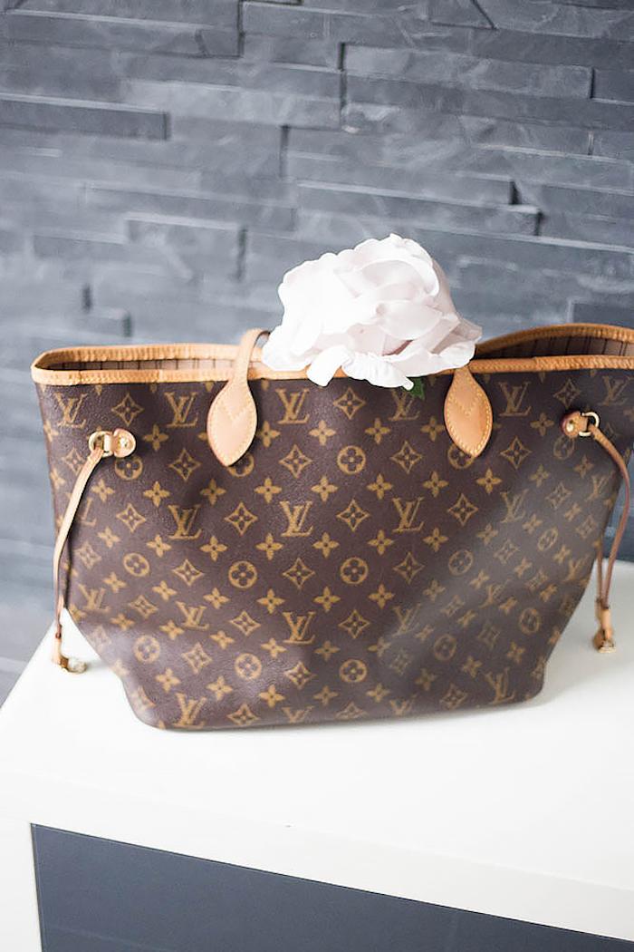 LV Bag Decoration from a Louis Vuitton Themed Party on Kara's Party Ideas | KarasPartyIdeas.com (21)