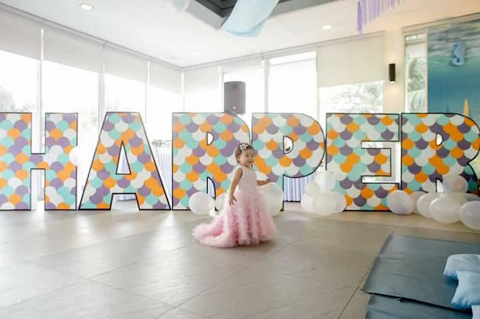 Giant Block Letter Name Sign from a Magical Mermaid Birthday Party on Kara's Party Ideas | KarasPartyIdeas.com (12)