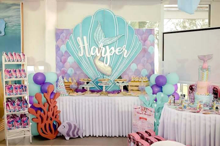 Mermaid Dessert Spread from a Magical Mermaid Birthday Party on Kara's Party Ideas | KarasPartyIdeas.com (8)