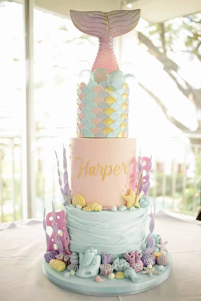 Mermaid Cake from a Magical Mermaid Birthday Party on Kara's Party Ideas | KarasPartyIdeas.com (5)