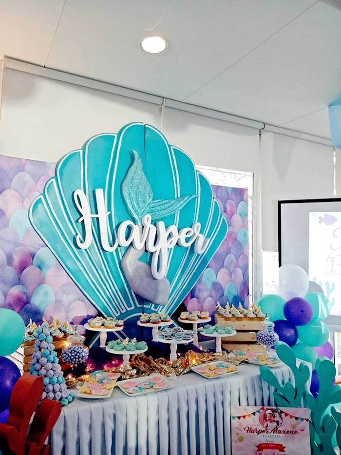 Mermaid Themed Dessert Table from a Magical Mermaid Birthday Party on Kara's Party Ideas | KarasPartyIdeas.com (23)