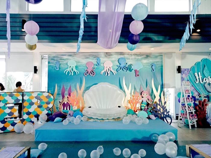 Coral Reef Photo Booth from a Magical Mermaid Birthday Party on Kara's Party Ideas | KarasPartyIdeas.com (22)