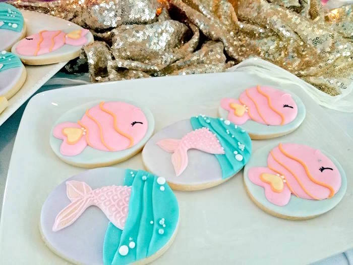 Mermaid Sugar Cookies from a Magical Mermaid Birthday Party on Kara's Party Ideas | KarasPartyIdeas.com (20)