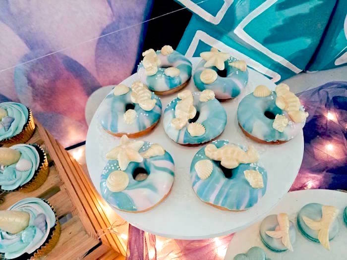 Mermaid Doughnuts from a Magical Mermaid Birthday Party on Kara's Party Ideas | KarasPartyIdeas.com (19)