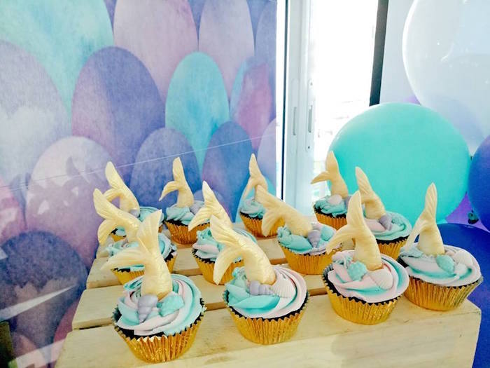 Mermaid Cupcakes from a Magical Mermaid Birthday Party on Kara's Party Ideas | KarasPartyIdeas.com (18)