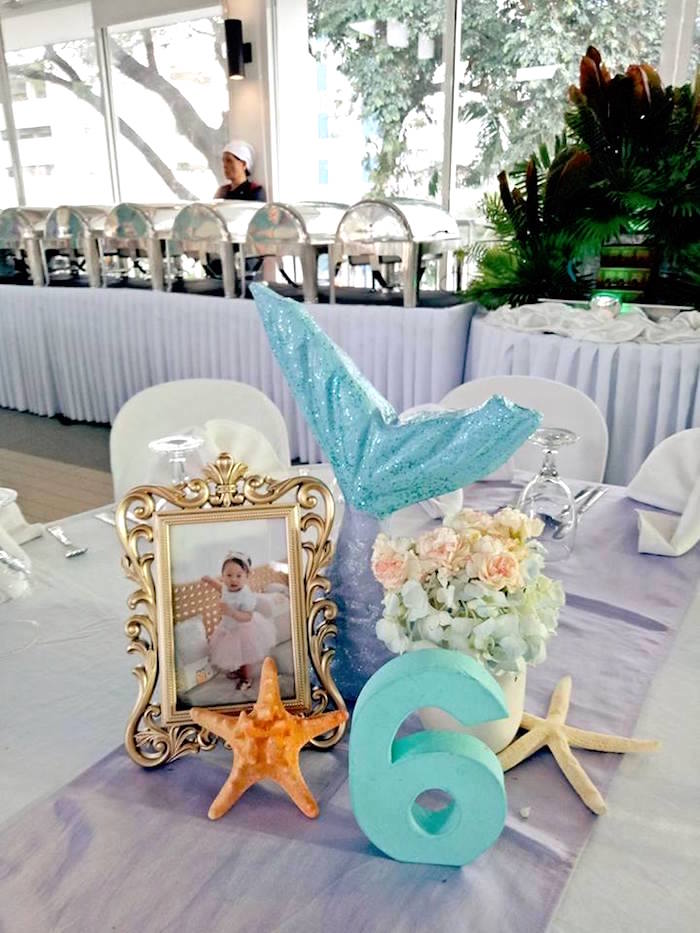 Mermaid Centerpiece from a Magical Mermaid Birthday Party on Kara's Party Ideas | KarasPartyIdeas.com (17)
