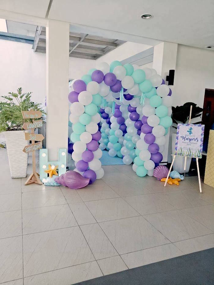 Balloon Arch Walkway from a Magical Mermaid Birthday Party on Kara's Party Ideas | KarasPartyIdeas.com (16)