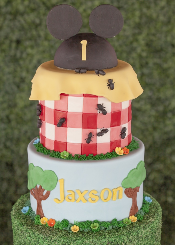 Mickey Mouse Picnic Cake from a Mickey Mouse Picnic Party on Kara's Party Ideas | KarasPartyIdeas.com (7)