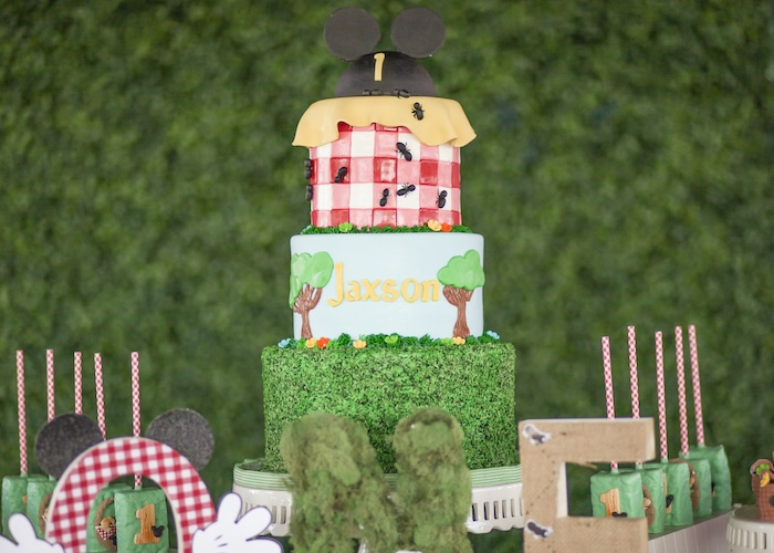 Mickey Mouse Picnic Cake from a Mickey Mouse Picnic Party on Kara's Party Ideas | KarasPartyIdeas.com (23)
