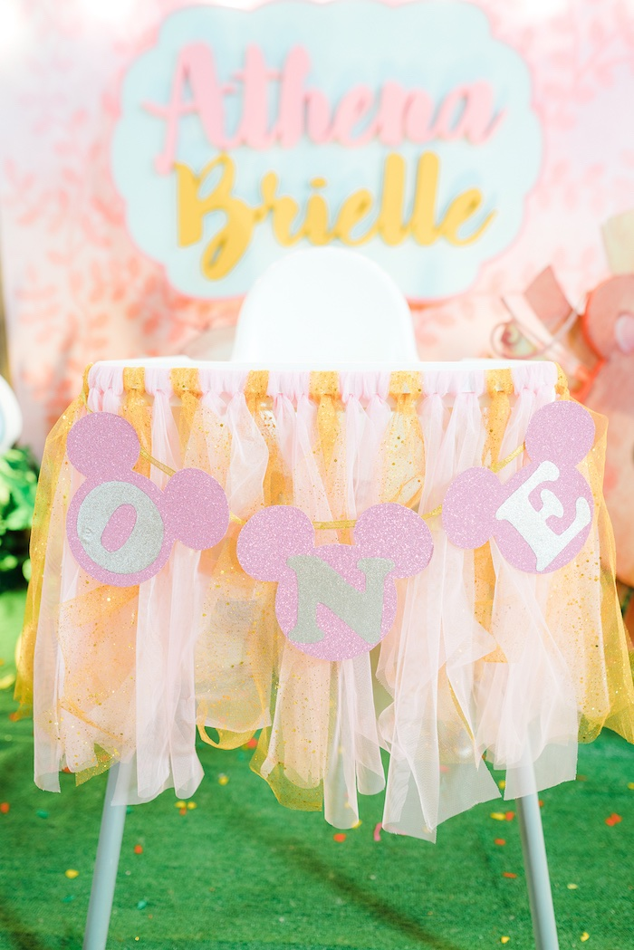 Minnie Mouse Highchair Banner from a Minnie Mouse Safari Birthday Party on Kara's Party Ideas | KarasPartyIdeas.com (15)