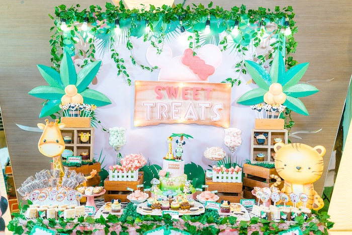 Dessert Table from a Minnie Mouse Safari Birthday Party on Kara's Party Ideas | KarasPartyIdeas.com (13)