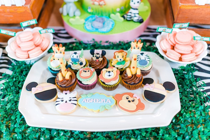 Cupcakes and Cookies from a Minnie Mouse Safari Birthday Party on Kara's Party Ideas | KarasPartyIdeas.com (10)