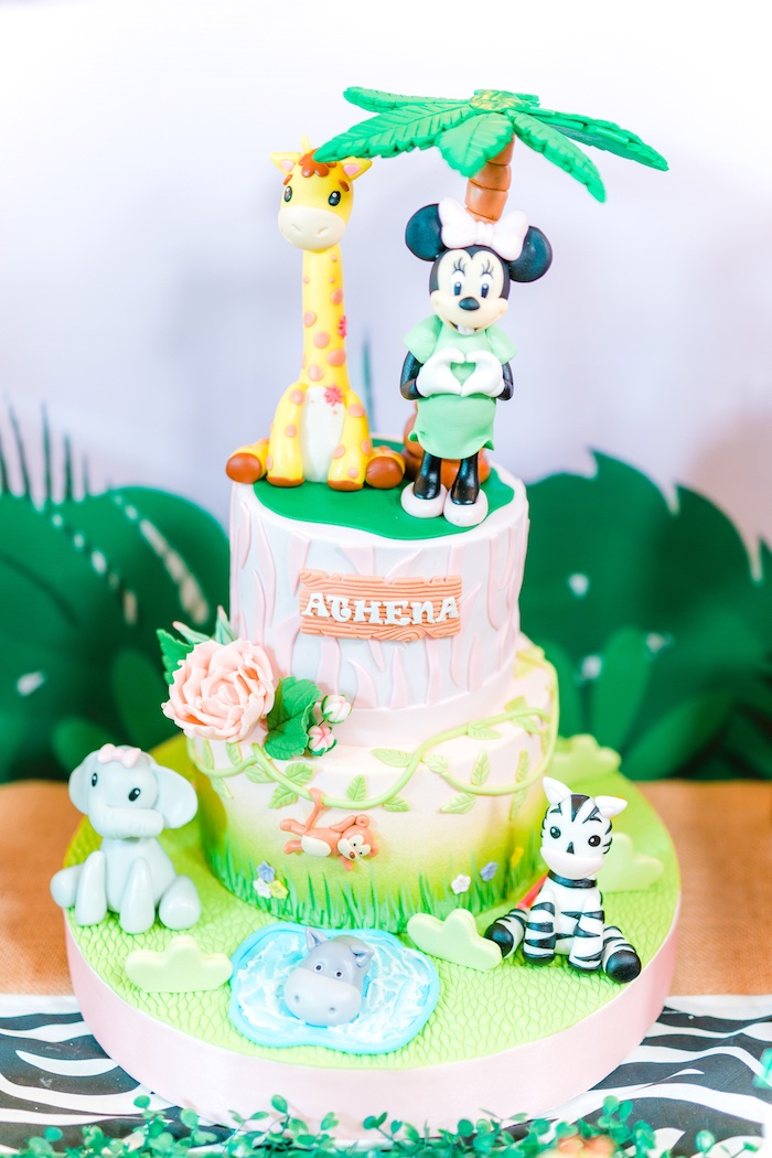 Minnie Mouse Safari Cake from a Minnie Mouse Safari Birthday Party on Kara's Party Ideas | KarasPartyIdeas.com (9)