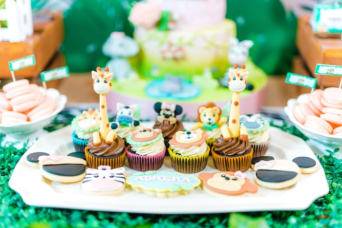 Cupcakes + Cookies from a Minnie Mouse Safari Birthday Party on Kara's Party Ideas | KarasPartyIdeas.com (8)