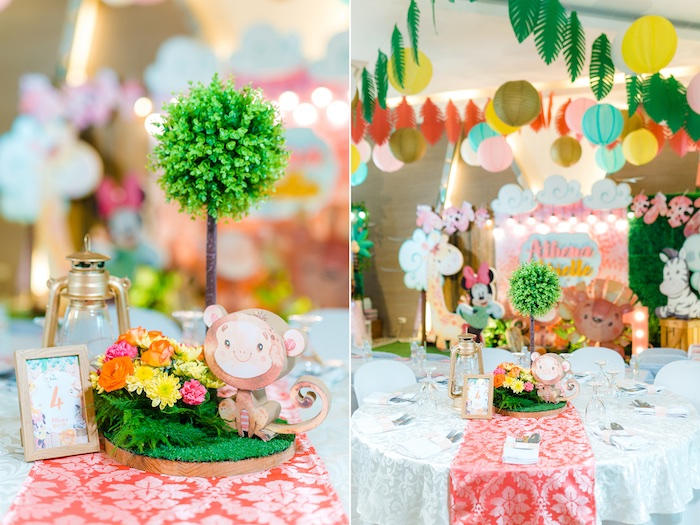 Safari-inspired Guest Table from a Minnie Mouse Safari Birthday Party on Kara's Party Ideas | KarasPartyIdeas.com (25)