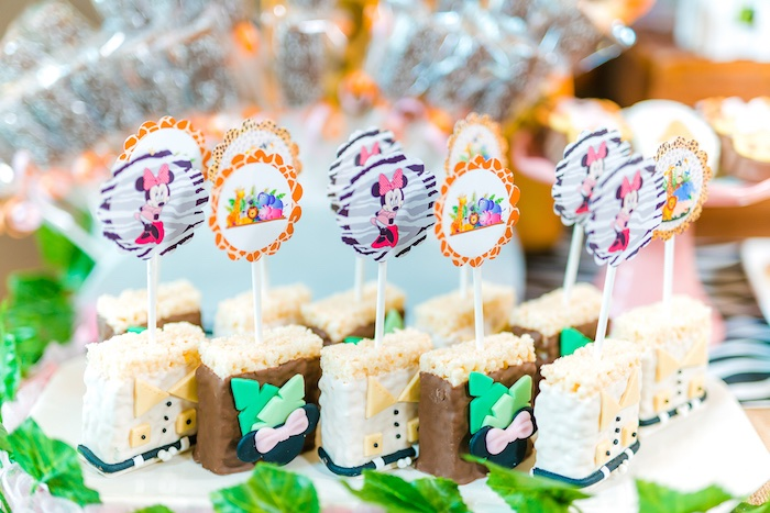 Minnie Mouse Krispies from a Minnie Mouse Safari Birthday Party on Kara's Party Ideas | KarasPartyIdeas.com (6)