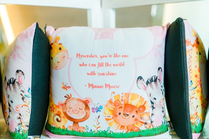 Pillow Favors from a Minnie Mouse Safari Birthday Party on Kara's Party Ideas | KarasPartyIdeas.com (5)