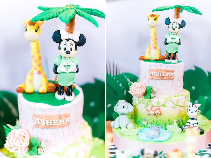 Safari Minnie Mouse Cake from a Minnie Mouse Safari Birthday Party on Kara's Party Ideas | KarasPartyIdeas.com (23)