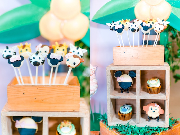 Minnie Mouse + Safari Animal Cake Pops + Cupcakes from a Minnie Mouse Safari Birthday Party on Kara's Party Ideas | KarasPartyIdeas.com (18)