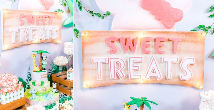 Signage + Cake Table from a Minnie Mouse Safari Birthday Party on Kara's Party Ideas | KarasPartyIdeas.com (17)