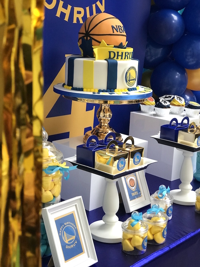 Cakescape from an NBA Warriors Basketball Party on Kara's Party Ideas | KarasPartyIdeas.com (3)