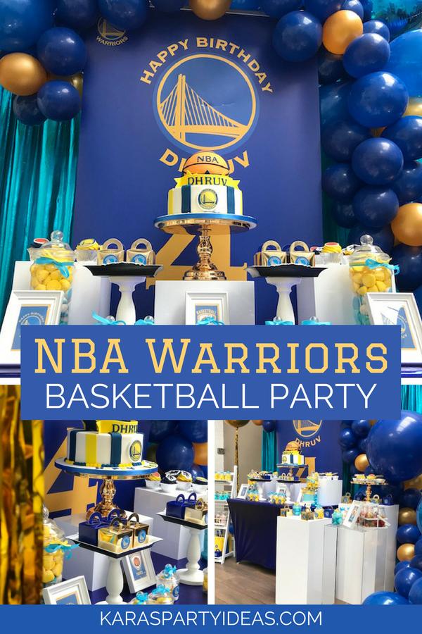 NBA Warriors Basketball Party via Kara's Party Ideas - KarasPartyIdeas.com
