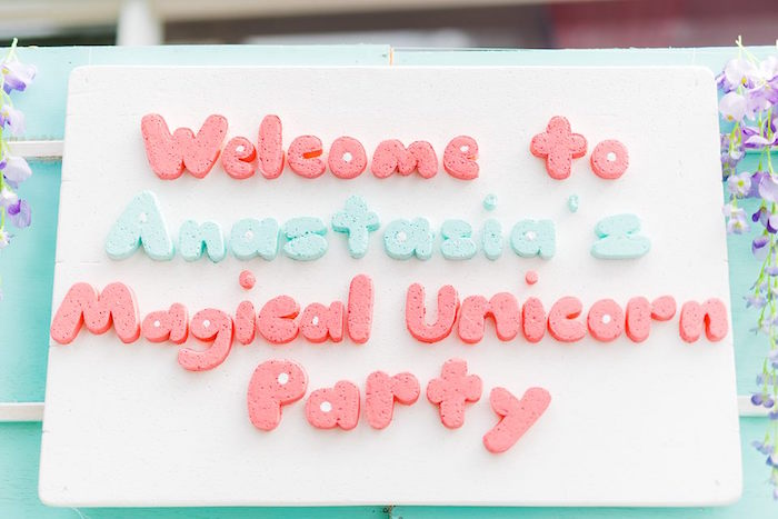 Welcome Sign from a Pastel Unicorn Birthday Party on Kara's Party Ideas | KarasPartyIdeas.com (19)