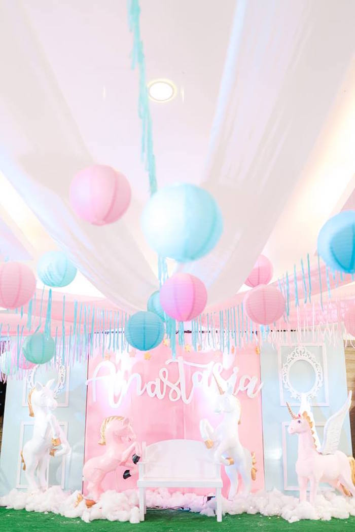 Paper Lantern Ceilingscape from a Pastel Unicorn Birthday Party on Kara's Party Ideas | KarasPartyIdeas.com (15)