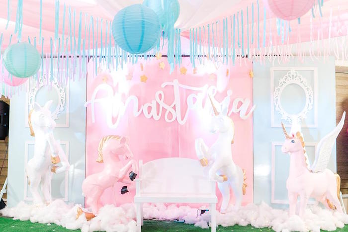 Unicorn Backdrop from a Pastel Unicorn Birthday Party on Kara's Party Ideas | KarasPartyIdeas.com (14)