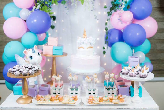 Unicorn Dessert Table from a Pastel Unicorn Birthday Party on Kara's Party Ideas | KarasPartyIdeas.com (28)