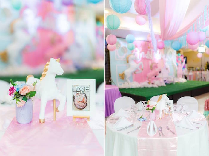 Unicorn Guest Table from a Pastel Unicorn Birthday Party on Kara's Party Ideas | KarasPartyIdeas.com (10)