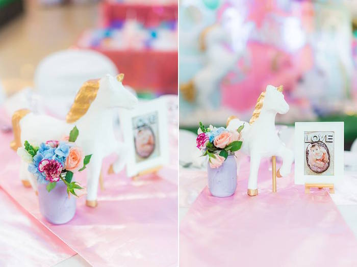 Unicorn Table Centerpiece from a Pastel Unicorn Birthday Party on Kara's Party Ideas | KarasPartyIdeas.com (6)