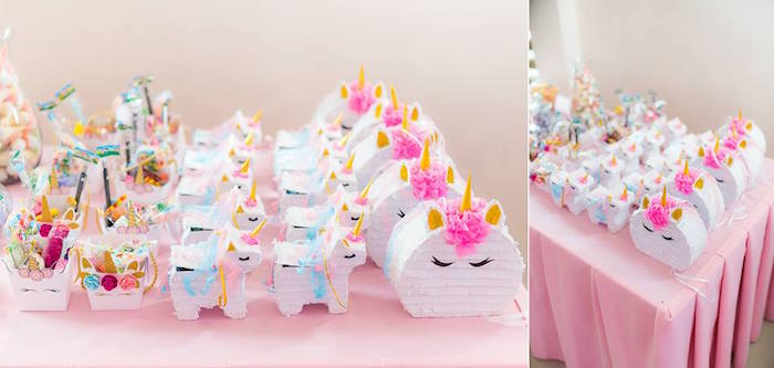 Unicorn Pinatas + Favors from a Pastel Unicorn Birthday Party on Kara's Party Ideas | KarasPartyIdeas.com (5)