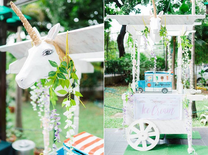 Unicorn Ice Cream Stand from a Pastel Unicorn Birthday Party on Kara's Party Ideas | KarasPartyIdeas.com (20)
