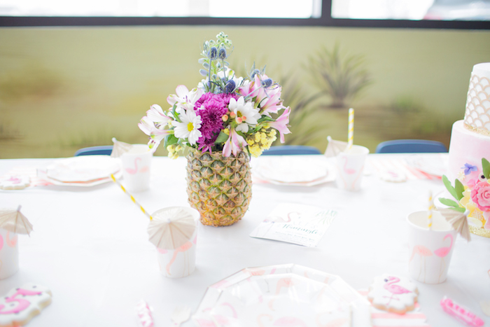 Flamingo-inspired Guest Table from a Pink Flamingo Birthday Party on Kara's Party Idea | KarasPartyIdeas.com (6)