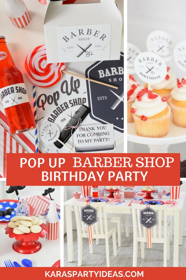 Pop Up Barber Shop Birthday Party- FREE Printables! via Kara's Party Ideas - KarasPartyIdeas.com