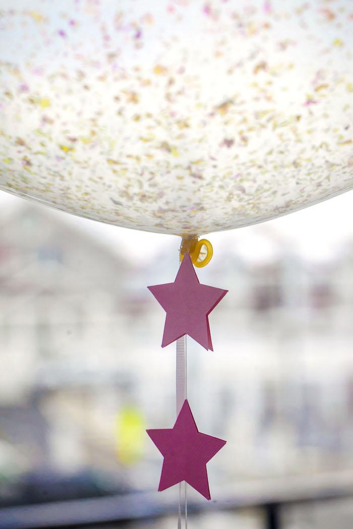 Star-studded balloon tail from a Rock Star 1st Birthday Party on Kara's Party Ideas | KarasPartyIdeas.com (15)