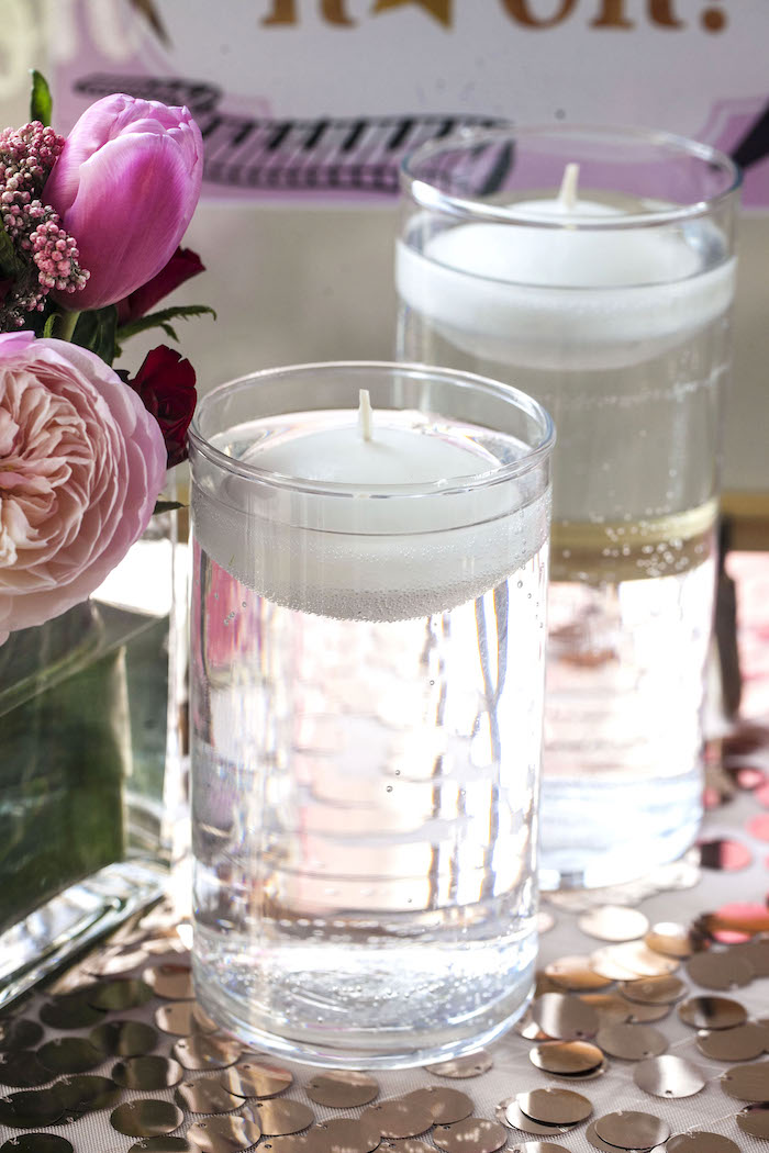 Water suspended candles from a Rock Star 1st Birthday Party on Kara's Party Ideas | KarasPartyIdeas.com (29)