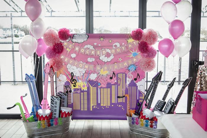 Rock Star + Cityscape Backdrop from a Rock Star 1st Birthday Party on Kara's Party Ideas | KarasPartyIdeas.com (6)