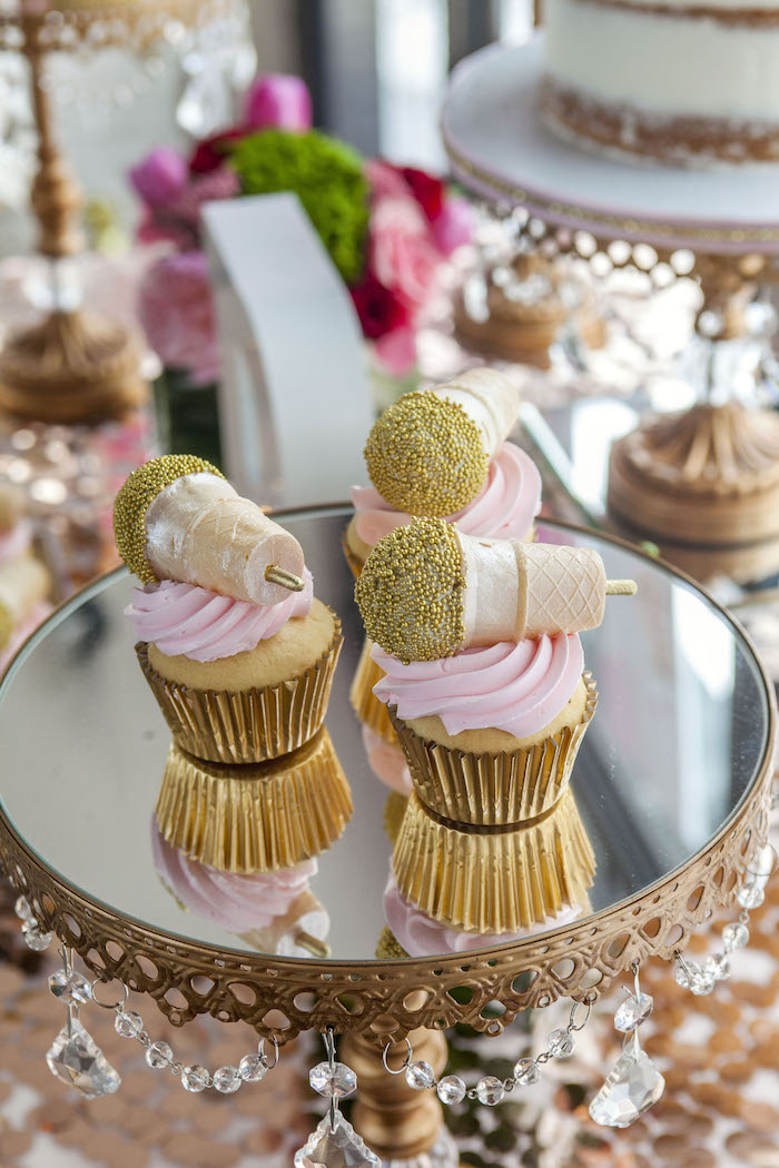 Glam Microphone Cupcakes from a Rock Star 1st Birthday Party on Kara's Party Ideas | KarasPartyIdeas.com (5)