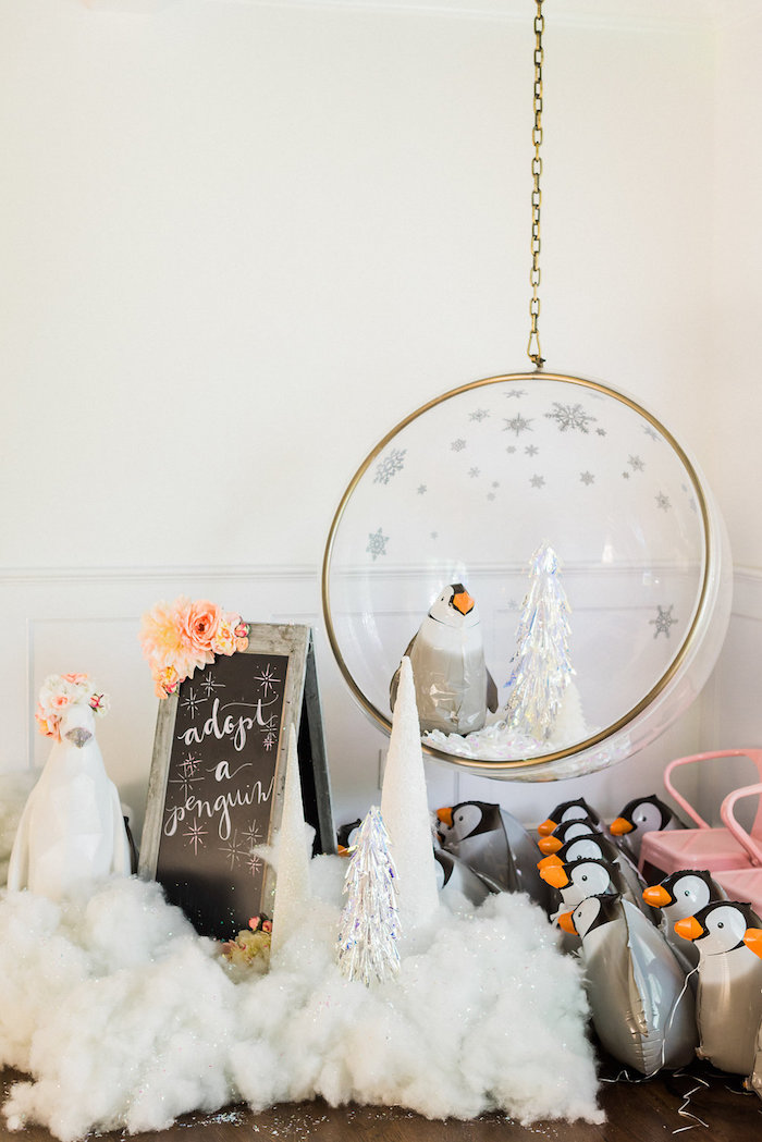 Penguin Balloon Adoption from a Shimmery Winter Wonderland Party on Kara's Party Ideas | KarasPartyIdeas.com (22)