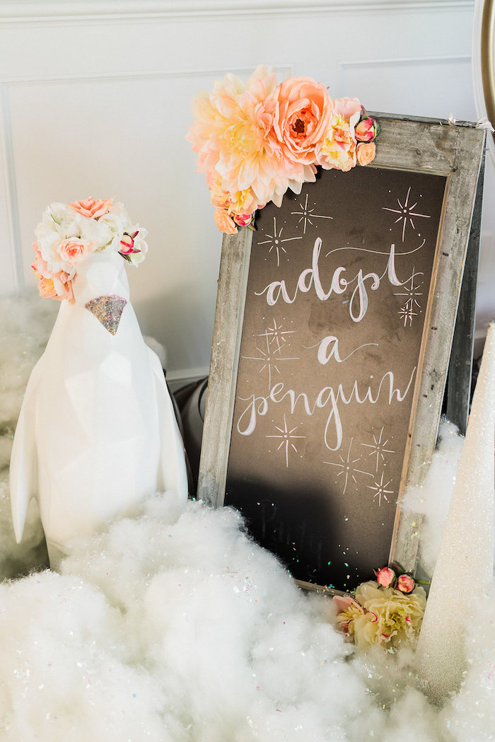 Penguin standee + signage from a Shimmery Winter Wonderland Party on Kara's Party Ideas | KarasPartyIdeas.com (20)