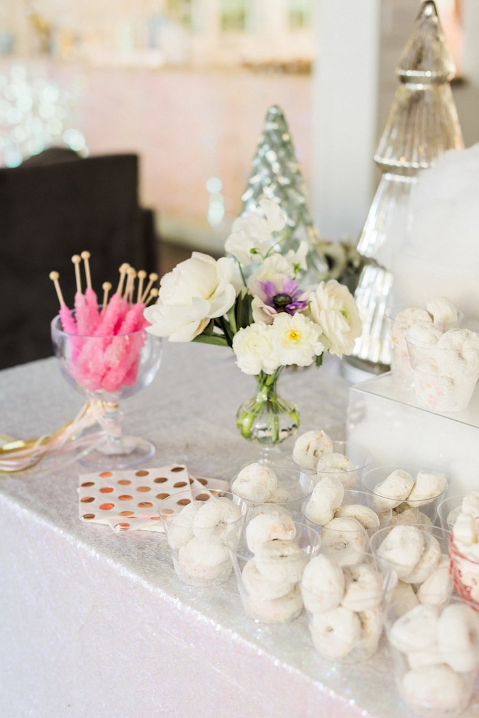 Party table from a Shimmery Winter Wonderland Party on Kara's Party Ideas | KarasPartyIdeas.com (17)