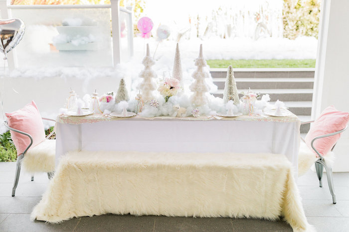 Winter guest table from a Shimmery Winter Wonderland Party on Kara's Party Ideas | KarasPartyIdeas.com (14)