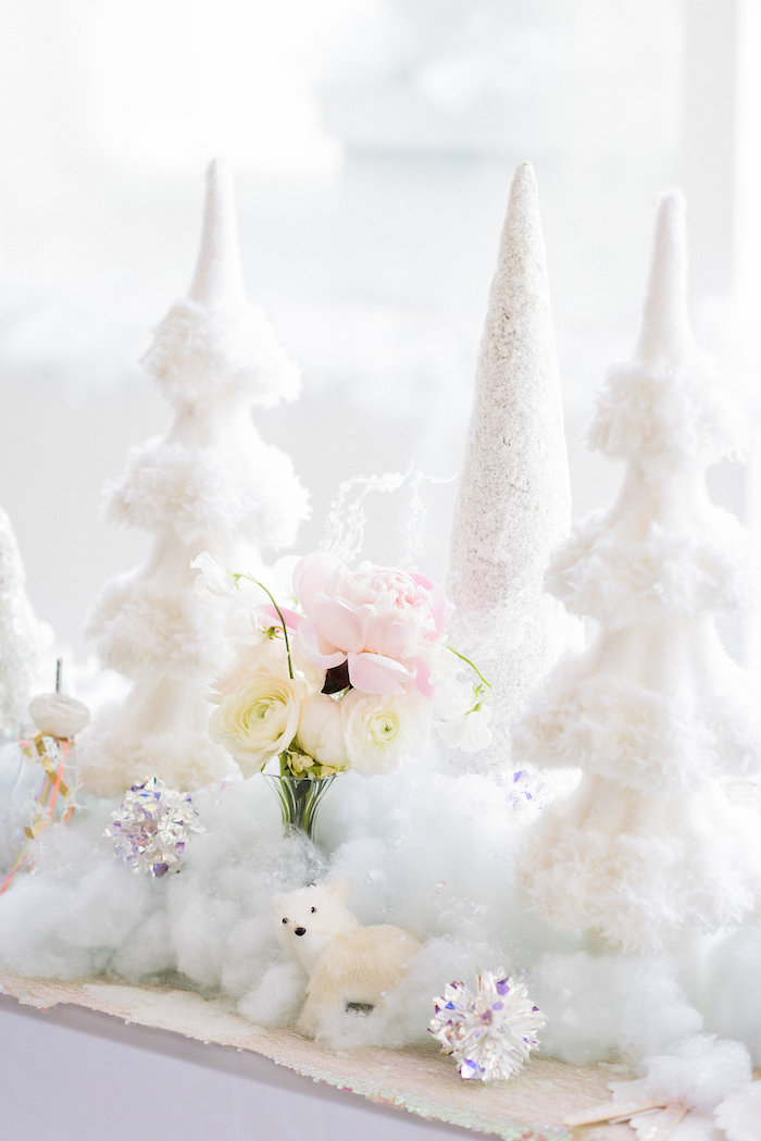 Winter decor from a Shimmery Winter Wonderland Party on Kara's Party Ideas | KarasPartyIdeas.com (13)