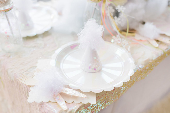 Winter Table Setting from a Shimmery Winter Wonderland Party on Kara's Party Ideas | KarasPartyIdeas.com (10)