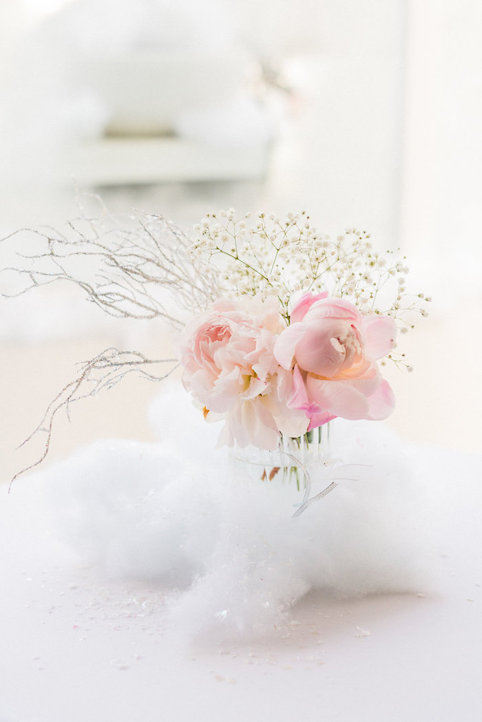 Winter floral arrangement from a Shimmery Winter Wonderland Party on Kara's Party Ideas | KarasPartyIdeas.com (5)